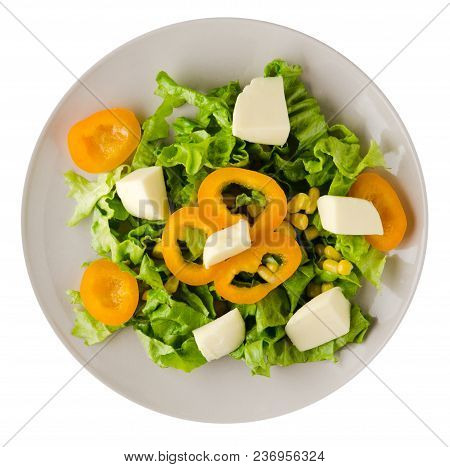 Salad Of Cheese, Lettuce, Corn, Pepper Isolated On White Background. Vegetarian Salad On A Plate. Ve