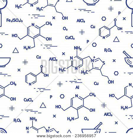 Seamless Pattern With Scientific, Education Elements: Molecular Structure, Formula, Pestle And Other