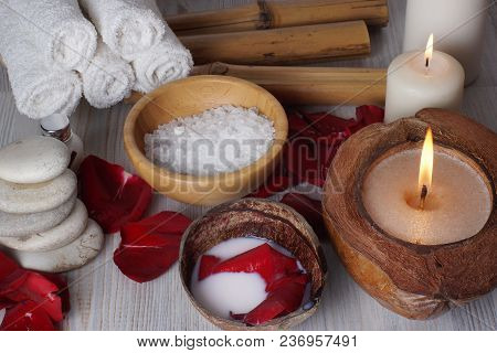 Set For Spa Treatment, Burning Candles, Bath Salt And Rose Petals.