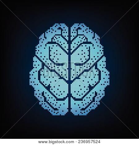 Brain In The Form Of Digital On A Dark Blue Background.