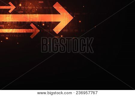 Technology In The Form Of Arrows On A Dark Orange Background.