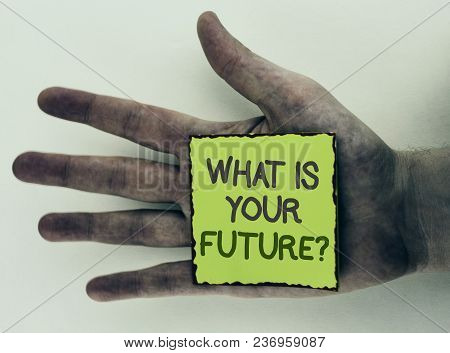 Writing Note Showing  What Is Your Future Question. Business Photo Showcasing Where Do You See Yours