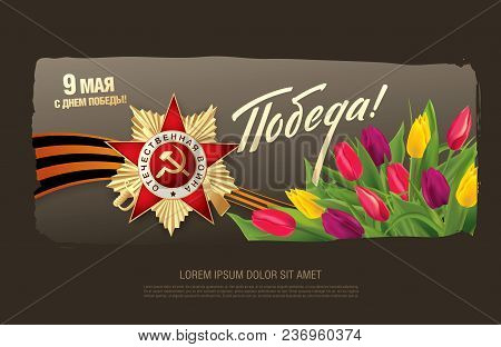 Vector Greeting Card For Holiday Of The Victory Day. Translation Russian Inscriptions: May 9. Happy