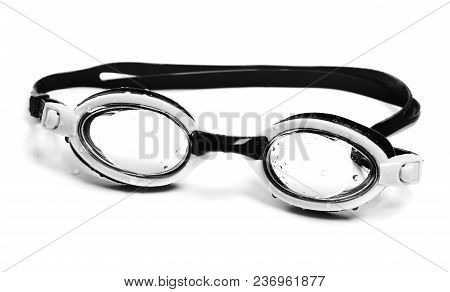 Black And White Wet Goggles For Swimming. Isolated On White Background.