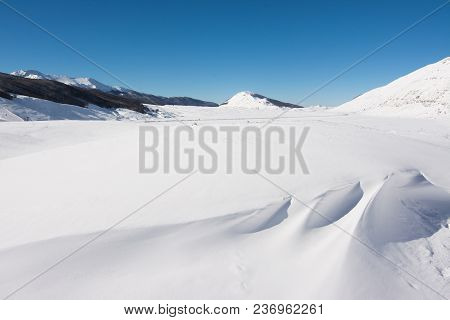 Winter landscape with snow. Campo Felice, Italy poster