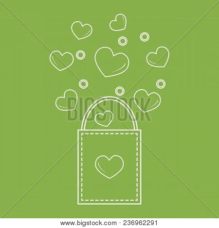 Gift Bag With Hearts Design For Banner, Flyer,