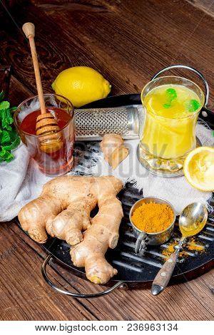 A Ginger Lemonade With Honey And Lemons
