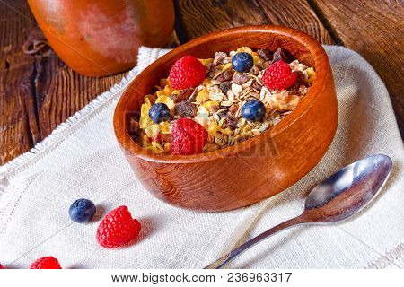 A Rustic Muesli Breakfast With Forest Fruits