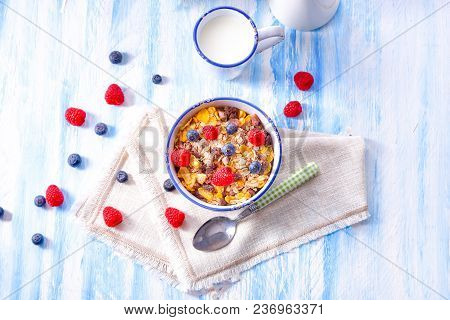 A Muesli Breakfast Menu With Forest Fruits