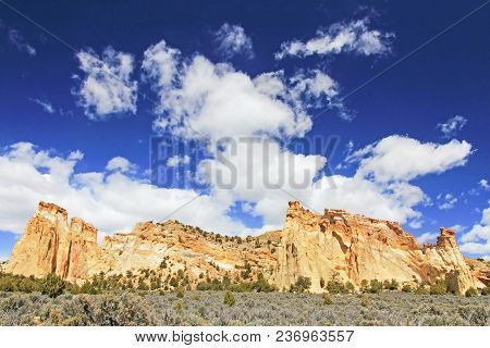Mountain At Grosvenor Arch Double Arch, Cottonwood Canyon Road In Grand Staircase Escalante National