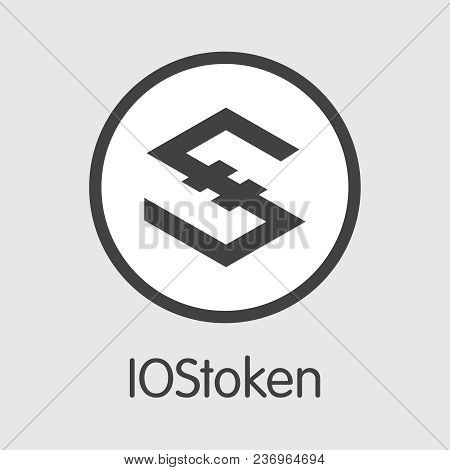 Iostoken - Cryptocurrency Trading Sign. Vector Coin Image Of Crypto Currency Icon On Grey Background