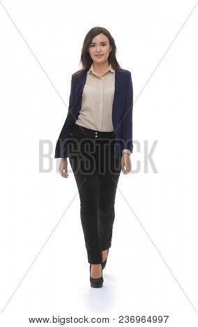 A business woman is walking.