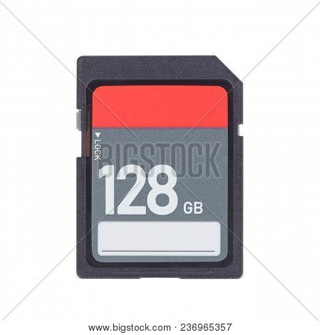 Memory Card Isolated On White Background - 128 Gigabyte