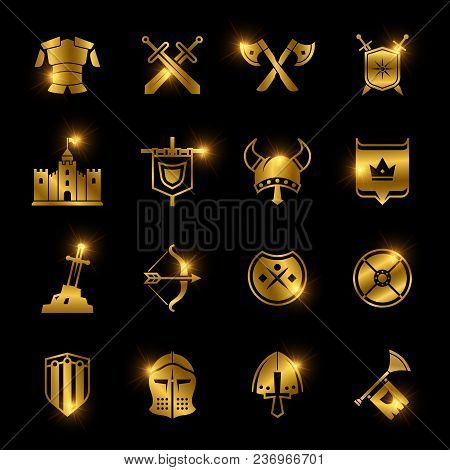 Golden Shiny Medieval Warriors Shield And Sword Vector Icons Illustration