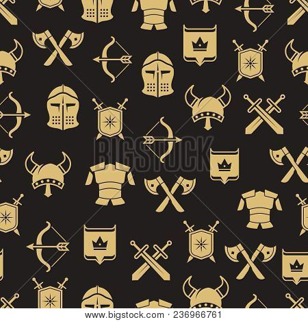 Medieval Warriors Shield And Sword Seamless Pattern Background. Vector Illustration