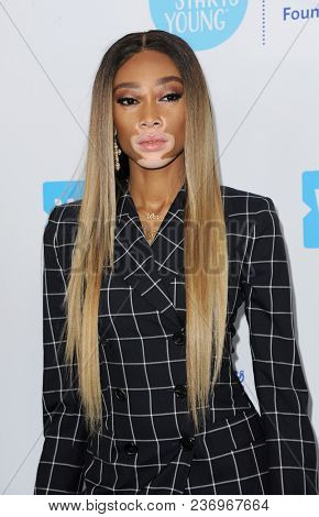 Winnie Harlow at the 2018 WE Day California held at the Forum in Inglewood, USA on April 19, 2018.