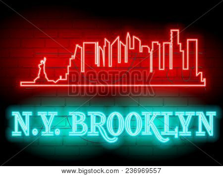 Neon Silhouette Of New York (united States) City Skyline Vector Background. Neon Style Sign N.y. Bro