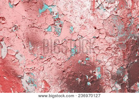 Texture Of The Pink Wall With Cracked Paint