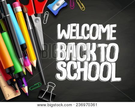 Back To School Vector Background Template Design With Colorful Elements Like School Supplies, Educat