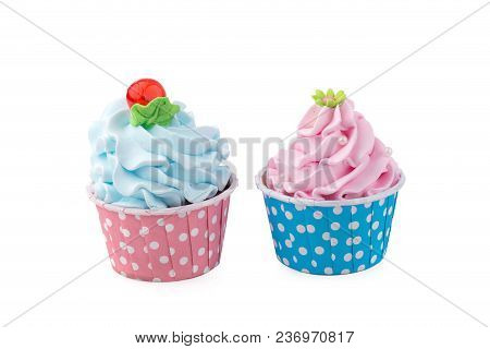 Tasty Birthday Cupcake On Yellow Color Background