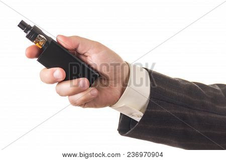Electronic Cigarette In Man's Hand Isolated On White