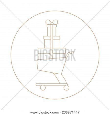 Stylized Icon Of Shopping Cart With Gifts. Design For Banner, Poster Or Print.