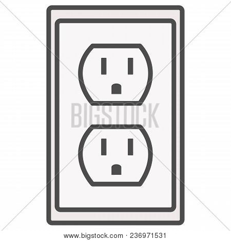 Grounded Power Outlets Symbol. White Socket. Electric Outlet Icon On White Background. U.s. Electric