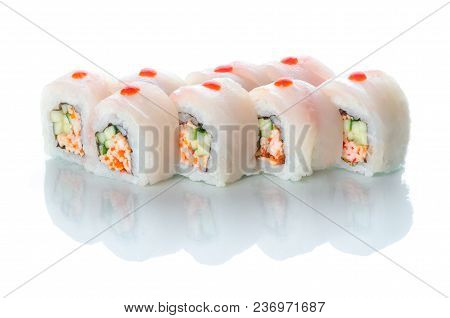 On White Isolated Background With Reflection, Sushi Rolls Red Perch And Snow Crab Uramaki White Drag