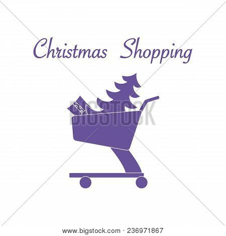 Shopping Cart With Christmas Tree And Gift. New Year And Christmas Symbols.