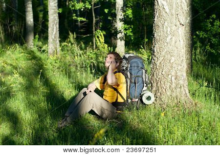 Hiker Using Mobile Device.