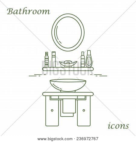 Cute Vector Illustration With Variety Bathroom Elements: Mirror, Washbasin, Towel, Shampoo And Other