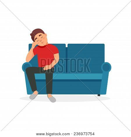 Tired Man Sitting On The Sofa Vector Illustration Isolated On A White Background.