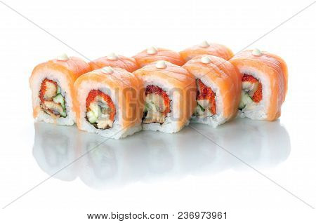 On White Isolated Background With Reflection, Sushi Rolls With Eel And Salmon With Japanese Mayonnai