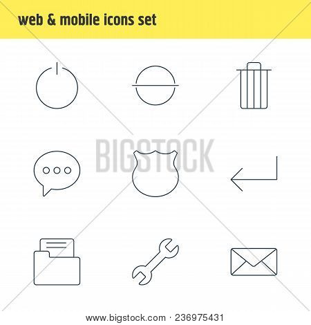 Vector Illustration Of 9 Ui Icons Line Style. Editable Set Of Setting, Shield, E-mail And Other Icon