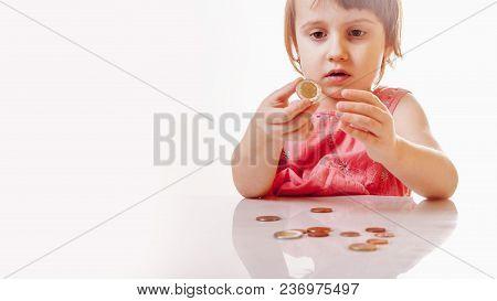 Best Motivation Is Money. Happy Business Child With Coints.  (childhood, Enrichment, Employment Conc