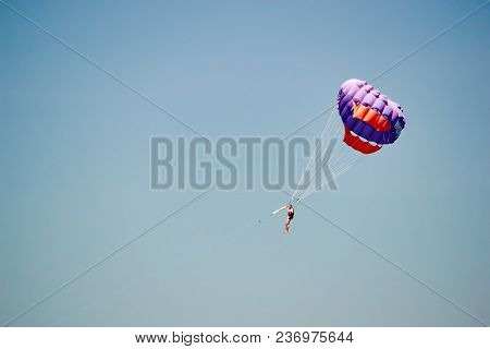 Parasailing. Man Flies On Parachute In Clear Blue Sky. Side View. Copy Space