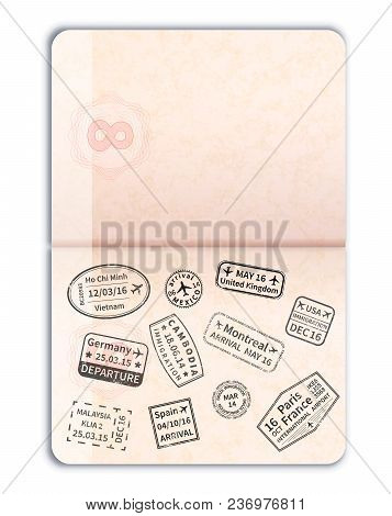 Realistic Open Foreign Passport With Black Immigration Stamps And Empty Page Isolated On White