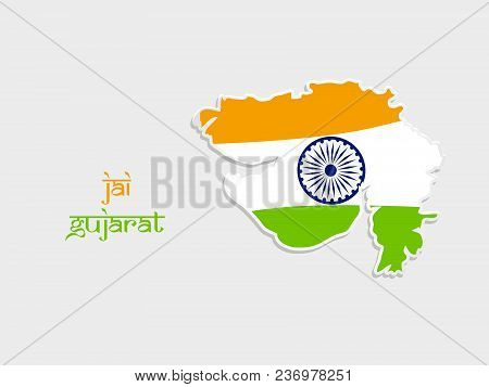 illustration of Map of an Indian State Gujarat in India flag background with Jai Gujarat text in Hindi language on the occasion of an Indian State Gujarat Day poster