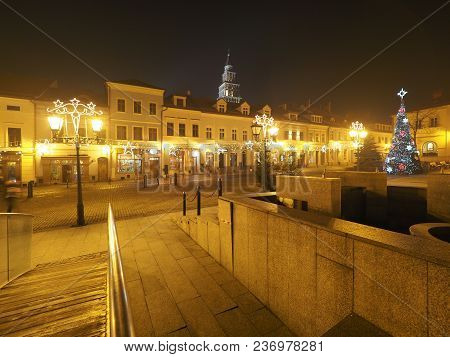 Bielsko-biala, Poland Europe On January 2018: Scenery Of Main Square In Historical City Center With