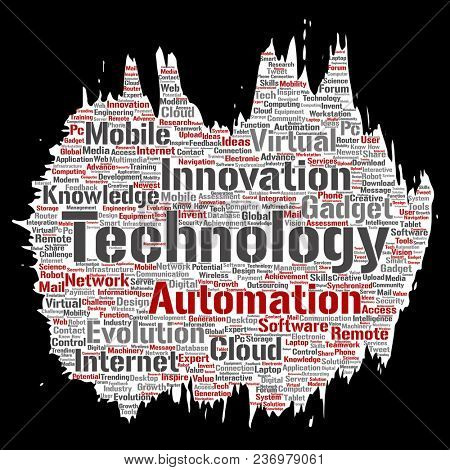 Conceptual digital smart technology, innovation media paint brush paper word cloud isolated background. Collage of information, internet, future development, research, evolution or intelligence
