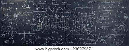 classic slate blackboard with math formula