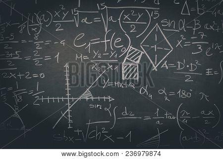 math symbol on classic slate blackboard