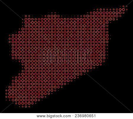 Dot Red Halftone Syria Map. Vector Geographical Map In Red Color Variations On A Black Background. V