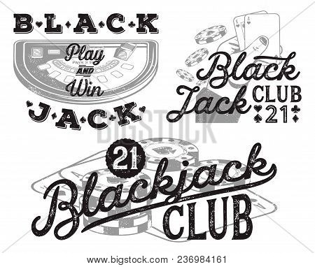 Set Of Vintage Blackjack Badges For Print On T-shirts, Printed Products And Publications On The Inte