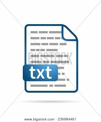 Bright Blue File Icon With Txt Extension Isolated On White