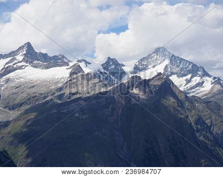 Alpine Mountains Range Panorama Landscapes In Swiss Alps At Switzerland, Picturesque Rocky Scenery F
