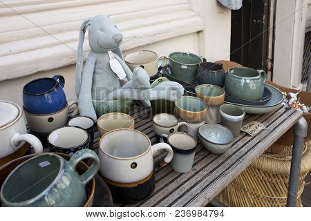 Amsterdam, Holland - 14 April 2018 Ceramic Tableware In The Shop Window