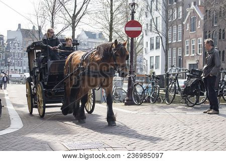 Amsterdam, Holland - 14 April 2018 A Cab Driver On A Horse Carries Tourists Along The Canal