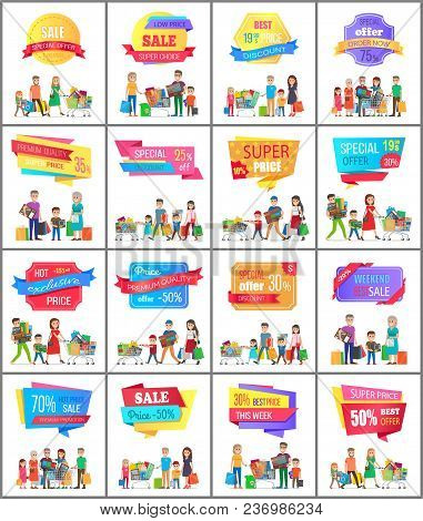 Set Of Promo Labels On Posters With People Doing Shopping, Vector Illustration Banners With Families