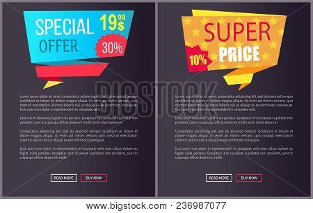 Special Offer Super Price Advert Promo Stickers On Black Posters With Text Vector Web Banners With B